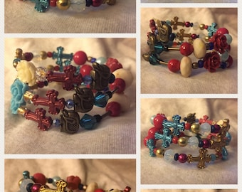Cross Themed Wrap Bracelets - Hand-Beaded Coil Bracelets - Crosses and Roses - Elephants and Batman - Fun and Romantic Memory Wire Bracelets