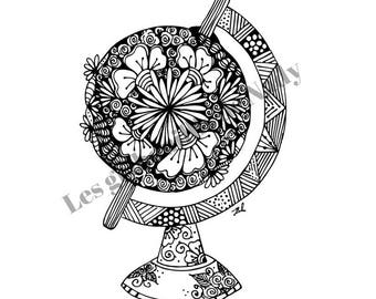 Mandala Earth globe to color and print yourself - mandala - zentangle - anti stress - earth globe - coloring - relaxation -