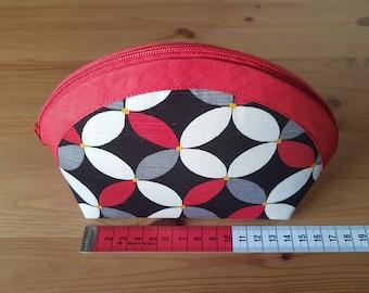 Red white kawung purse, medium purse, etui, medium wallet, circular bag, zipper pouch, smartphone wallet