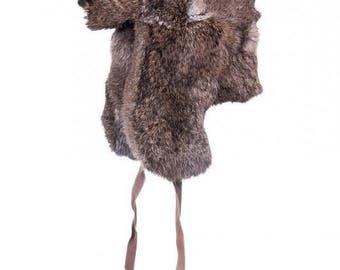 NEW RABBIT FUR hat with ear flaps Men's Women's aviator trapper cap Warm winter headwear Skull beanie Russian vintage style Christmas gift