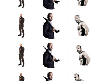12 x Jason Statham Edible Stand Up Wafer Cake Cupcake Toppers