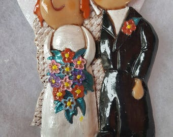 Personalized Bride and Groom Wedding Ornament/Magnet