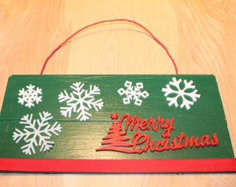 Merry Christmas door hanger/sign with raffia ribbon
