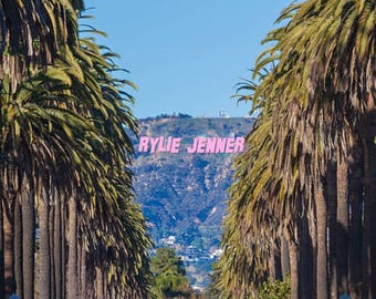 """STICKER 3X4 """"RYLIEJENNER"""" HOLLYWOOD Sign"""