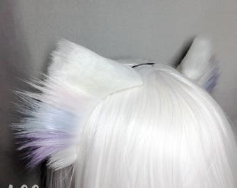 "Cotton Candy Striped White Faux Fur 2.5""  Kitty Ears with Blended Fluff - cat ears pet play kitten ears play gear"