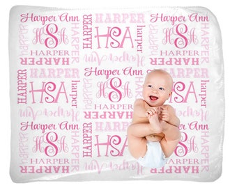 Baby Girl Name Blanket, Swaddle Initial Blanket, Pink Blanket Pillow Set, Personalized Nursery, Girl Bedding, Newborn Girl Shower Gift