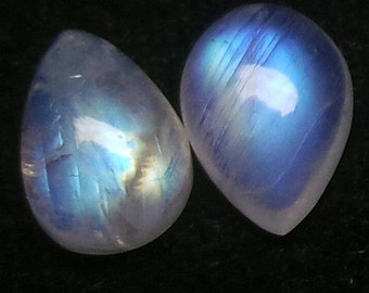 Rainbow Moonstone Pear Cabochon Lot, Size-11x8 MM, Blue Flash Moonstone , AAA,  Loose Gemstone, Smooth Cabochons.