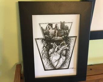 Pittsburgh Keystone heart print, print from original drawing, 5x7, anatomical heart, pen drawing, ink, design, roots