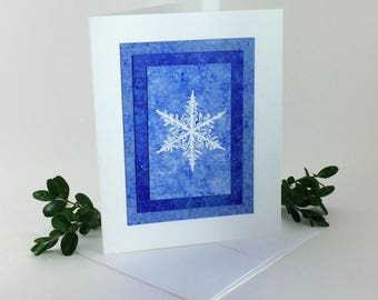 Snowflake blues embossed blank card, individually handmade: A2, notecards, fine cards, let it snow, winter, snow, SKU BLA21026