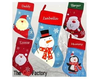 Personalised Embroidered Christmas Stocking Luxury Kids Santa Snowman Snowflake Duluxe Kids