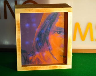 wooden led lightbox, with personalised imagery and or messages in colours of your choosing.