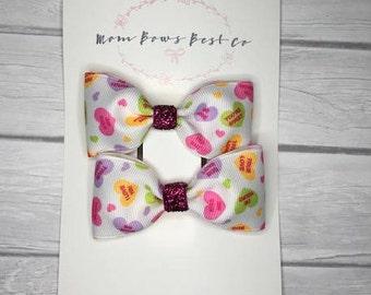 Valentine's hair bow set, pigtail hair bows, heart hair bow, glitter hair clip, love hair clip, love hair bow, valentines bow, vday hair bow