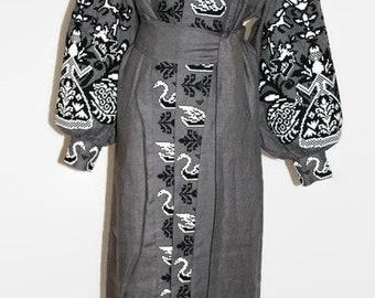 Embroidered Kaftan Ukrainian Abaya Dress Bohemian Clothing Fashion Ukraine Custom Embroidery Caftan Dresses Mexican Clothes Open Grey Robe