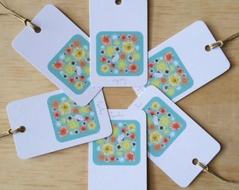 Daisy A day Blue Gift Tags  x6