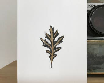CLEARANCE: (set of 5) gold embossed black and white oak leaf card, blank inside with white envelope