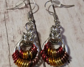 Fall colored Byzantine Circle Earrings - chainmaille