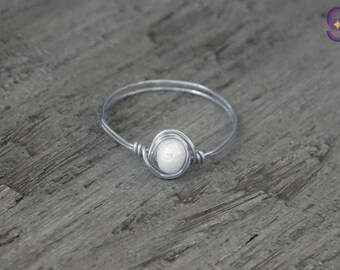 Silver Wire Wrap Pearl Ring, Stackable Silver Pearl Ring, Silver Fashion Pearl Jewelry, Minimalist Pearl Ring, Handmade Wire Woven Jewelry