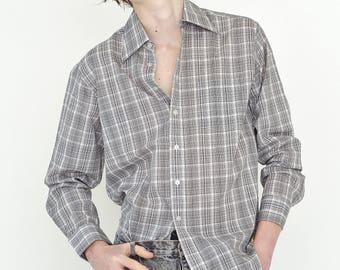 VINTAGE Grey Checked Long Sleeve Button Down Retro Shirt