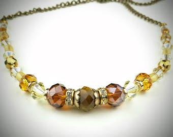 Brown and Gold Glass Bead Necklace, 21 inch necklace, great gift for her, female gift idea.