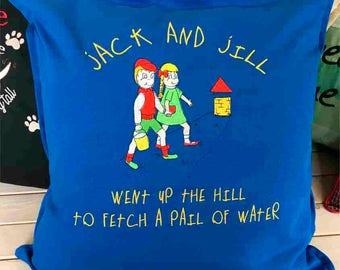 Embroidered Nursery Rhyme Cushion - Jack & Jill