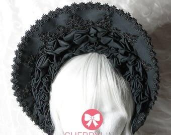 Bonnet lolita Black/Lace