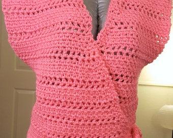 Crocheted wrap sweater