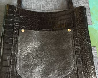 Black Alligator Embossed Leather handbag
