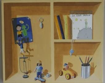 tableau décoratif trompe l'oeil chambre d'enfant