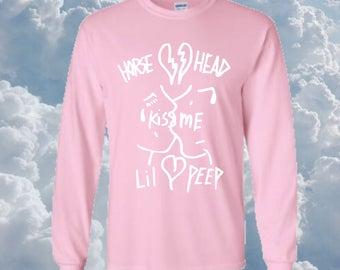 Lil Peep, horse head >kiss me<, kawaii, pink, very rare graphic long sleeve shirt