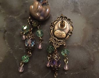 Kirks Folly Very  Rare !! PEONIES butterfly  Earrings 2.5 inch.new(other) with box