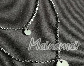 Simple round plate necklace, stainless steel