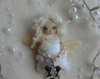 """Fabric Brooch Doll """"Engel""""/Minipuppe"""