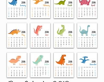 "Dinosaur Calendar 2018. All 12 months Printable. Size 8"" x 10"". Instant Download. Kids room decor .Home Decor. Gift . Desk decor. Dino"