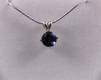 Iolite Pendant with Sterling Silver Snake Chain