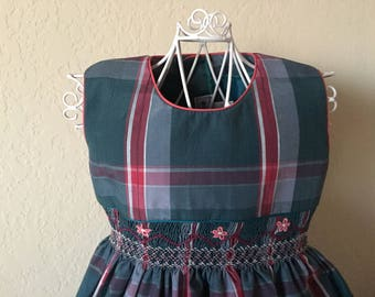 Size 4 Hand Smocked Girls' Dress - Plaid Accent Flowers