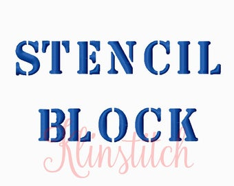 50% Sale!! Stencil Block Embroidery Fonts 2 Sizes Fonts BX Fonts Embroidery Designs PES Fonts Alphabets - Instant Download