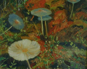 Original oil painting on a fall painting mushrooms - small format Original painting with oil on mushrooms-small size