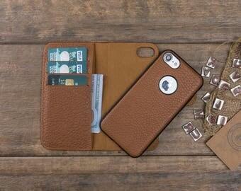 Leather iPhone 7 Plus Case, iPhone 7 Plus Wallet Case, iPhone 7 Plus Card Case, iPhone 7 Plus Cover, Magnetic iPhone 7 Plus Leather Case