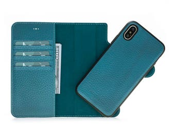 iPhone X Leather Wallet Case, iPhone X Detachable Case, iPhone Card Holder, Leather iPhone X Case, Magnetic Case, iPhone Case, Turquoise