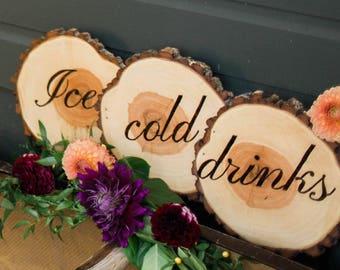 Wood burned bar sign