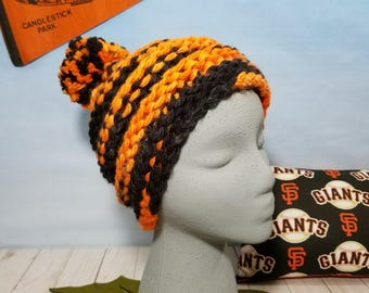 San Francisco Giants Hand Knit Hat, Beanie, Slouchy- SF-016