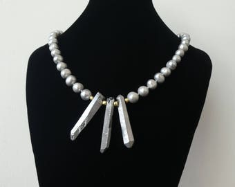Freshwater Pearl and Quartz Crystal Necklace Impact On Trend Statement Gift for Her