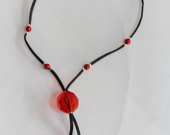 Black and red acrylic and glass necklace adjustable nickel free