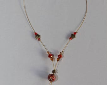 Swarovski Crystal and gold and Red aventurine necklace