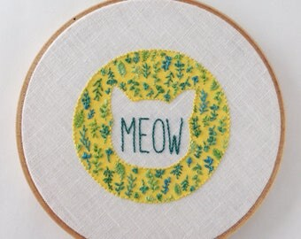 MEOW - botanical plant cat outline embroidery hoop wall art