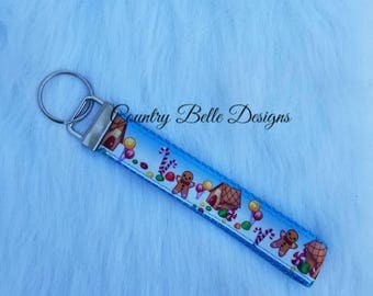 blue trim gingerbread man keychain
