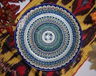 Uzbek decorative ceramic handmade painted plate, high quality, diameter 28 sm (11.02 in) 0015