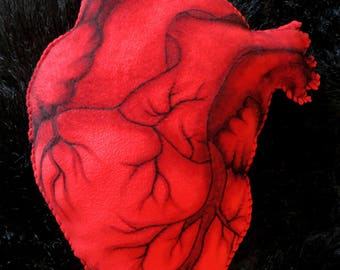 Large Red Anatomical Heart Cushion - 50cm x 40cm - HAND PAINTED - Decorative Pillow - Valentines Gift Present - Anatomy Gothic Steampunk