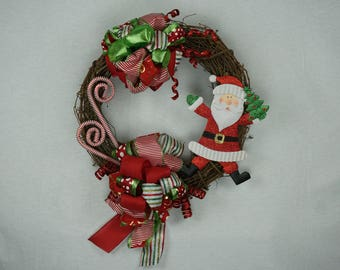 Santa Claus is Coming to Town Christmas Wreath for Front Door