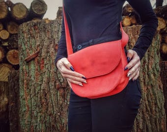 Handmade Bag - Women's Leather Satchel - Real Leather - Crazy Horse Leather - Women's Leather Bag - Gift Idea for Women - Red Crossbody Bag